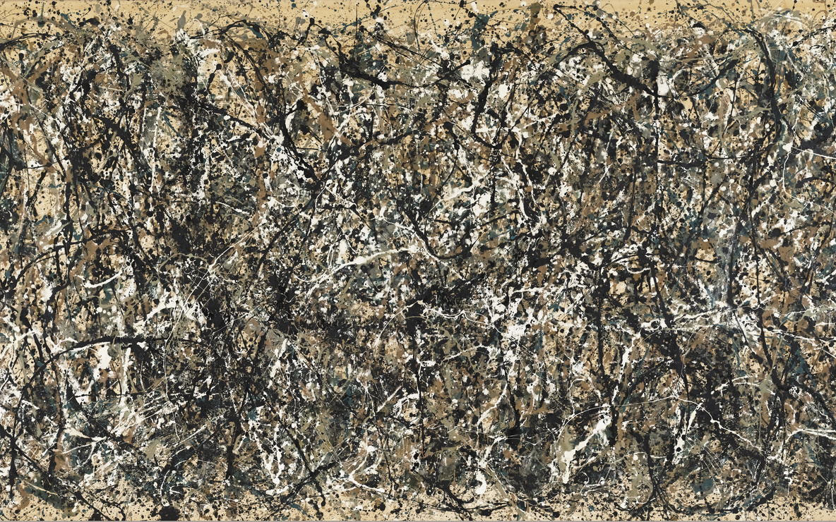 Jackson Pollock. *One: Number 31, 1950.* 1950. Oil and enamel paint on canvas, 8′ 10″ × 17′ 5 5/8″ (269.5 × 530.8 cm). Sidney and Harriet Janis Collection Fund (by exchange). © 2011 Pollock-Krasner Foundation / Artists Rights Society (ARS), New York