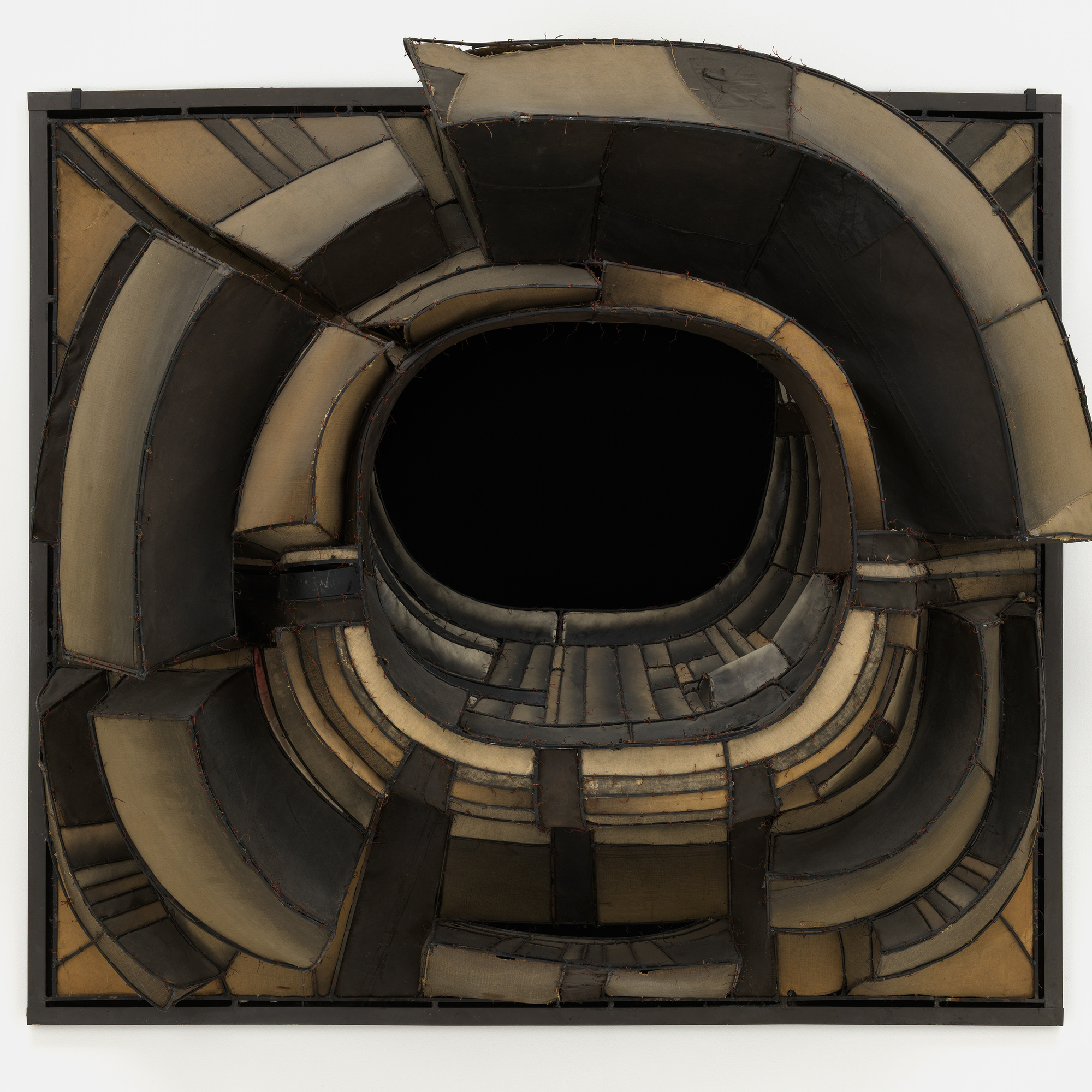 "Lee Bontecou. Untitled. 1961. Welded steel, canvas, black fabric, rawhide, copper wire, and soot, 6' 8 1/4"" x 7' 5"" x 34 3/4"" (203.6 x 226 x 88 cm). The Museum of Modern Art, New York. Kay Sage Tanguy Fund"