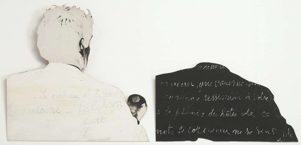 "Marcel Broodthaers. *Pour un art de l'écriture. Pour une écriture de l'art (On the art of writing. On the writing of art)*. 1968. Painted photographic canvas on two cut-out composition boards, left: 40 5/8 × 42 3/8"" (103.2 × 107.6 cm); right: 23 1/2 × 42 1/2"" (59.7 × 107.9 cm). The Museum of Modern Art, New York. Gift of Raymond J. Learsy and Gabriella De Ferrari, 1991. © 2015 Estate of Marcel Broodthaers/Artists Rights Society (ARS), New York/SABAM, Brussels"