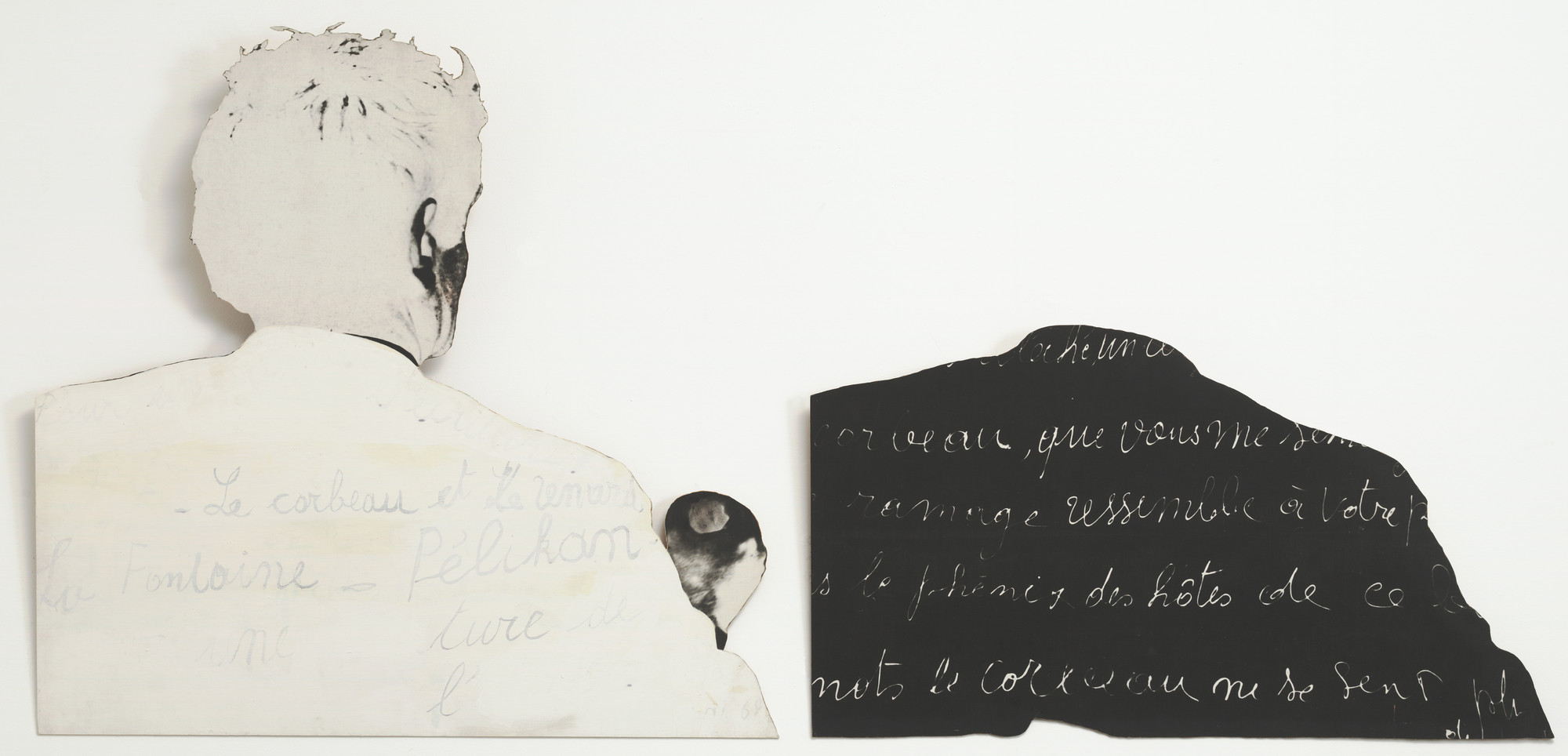 "Marcel Broodthaers. Pour un art de l'écriture. Pour une écriture de l'art (On the art of writing. On the writing of art). 1968. Painted photographic canvas on two cut-out composition boards, left: 40 5/8 × 42 3/8"" (103.2 × 107.6 cm); right: 23 1/2 × 42 1/2"" (59.7 × 107.9 cm). The Museum of Modern Art, New York. Gift of Raymond J. Learsy and Gabriella De Ferrari, 1991. © 2015 Estate of Marcel Broodthaers/Artists Rights Society (ARS), New York/SABAM, Brussels"