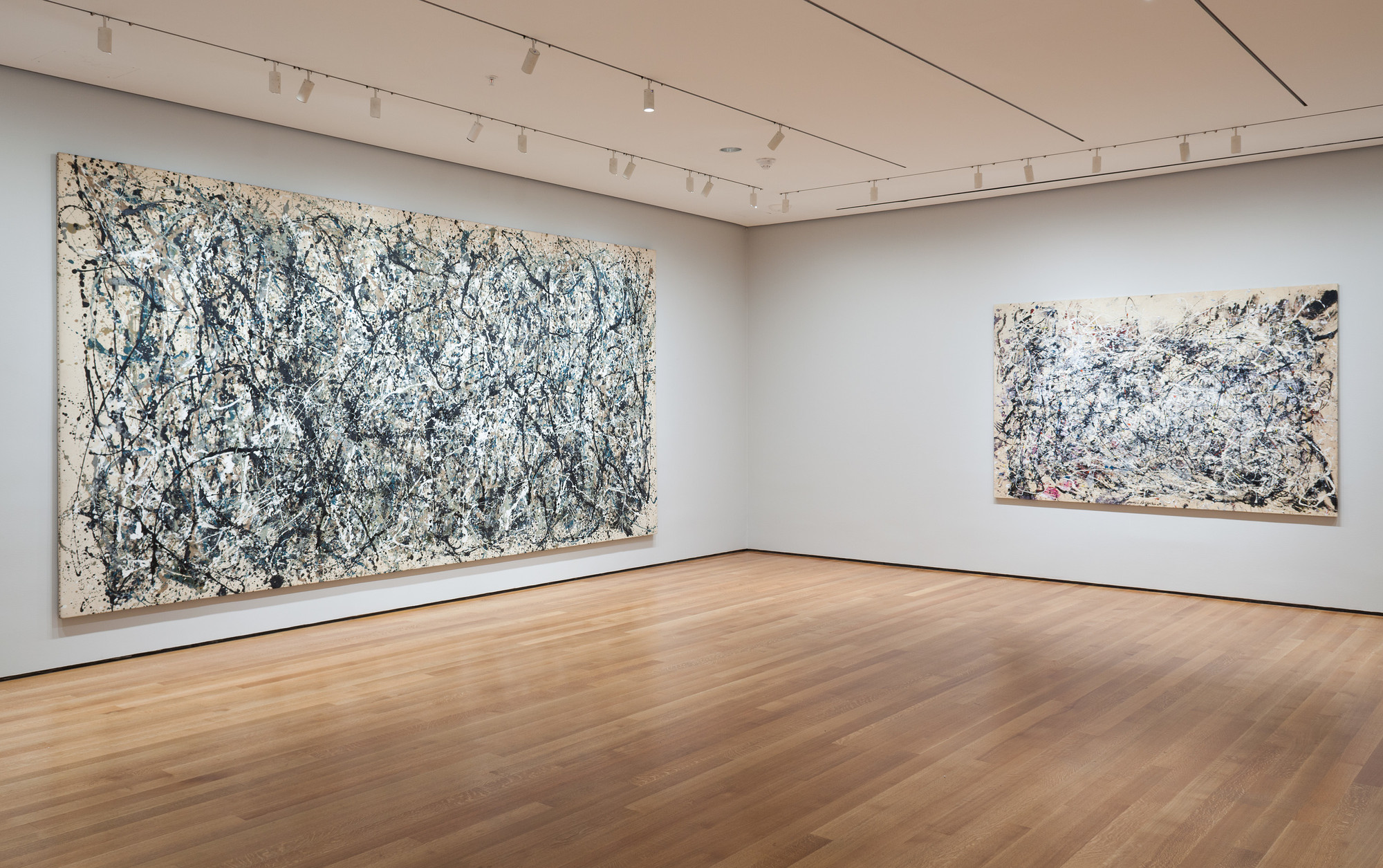 Installation view of Jackson Pollock: A Collection Survey, 1934–1954 at The Museum of Modern Art, New York (November 22, 2015–March 13, 2016). Photo by Thomas Griesel. © 2015 The Museum of Modern Art, New York