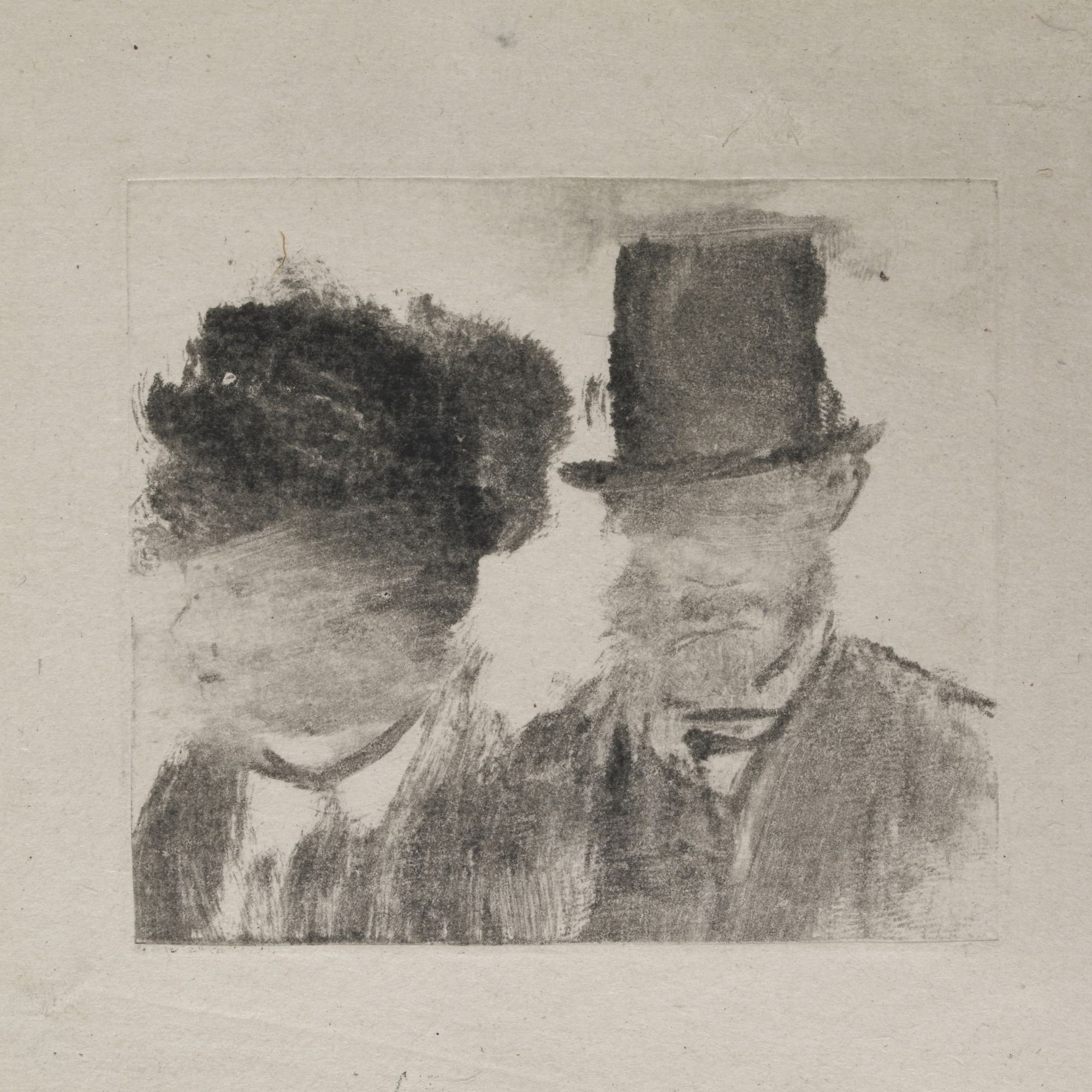 Edgar Degas. Heads of a Man and a Woman (Homme et femme, en buste). c. 1877–80. Monotype on paper, plate: 2 13/16 × 3 3/16″ (7.2 × 8.1 cm). British Museum, London. Bequeathed by Campbell Dodgson