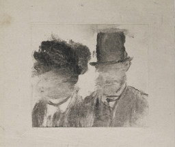 Edgar Degas. *Heads of a Man and a Woman (Homme et femme, en buste).* c. 1877–80. Monotype on paper, plate: 2 13/16 × 3 3/16″ (7.2 × 8.1 cm). British Museum, London. Bequeathed by Campbell Dodgson