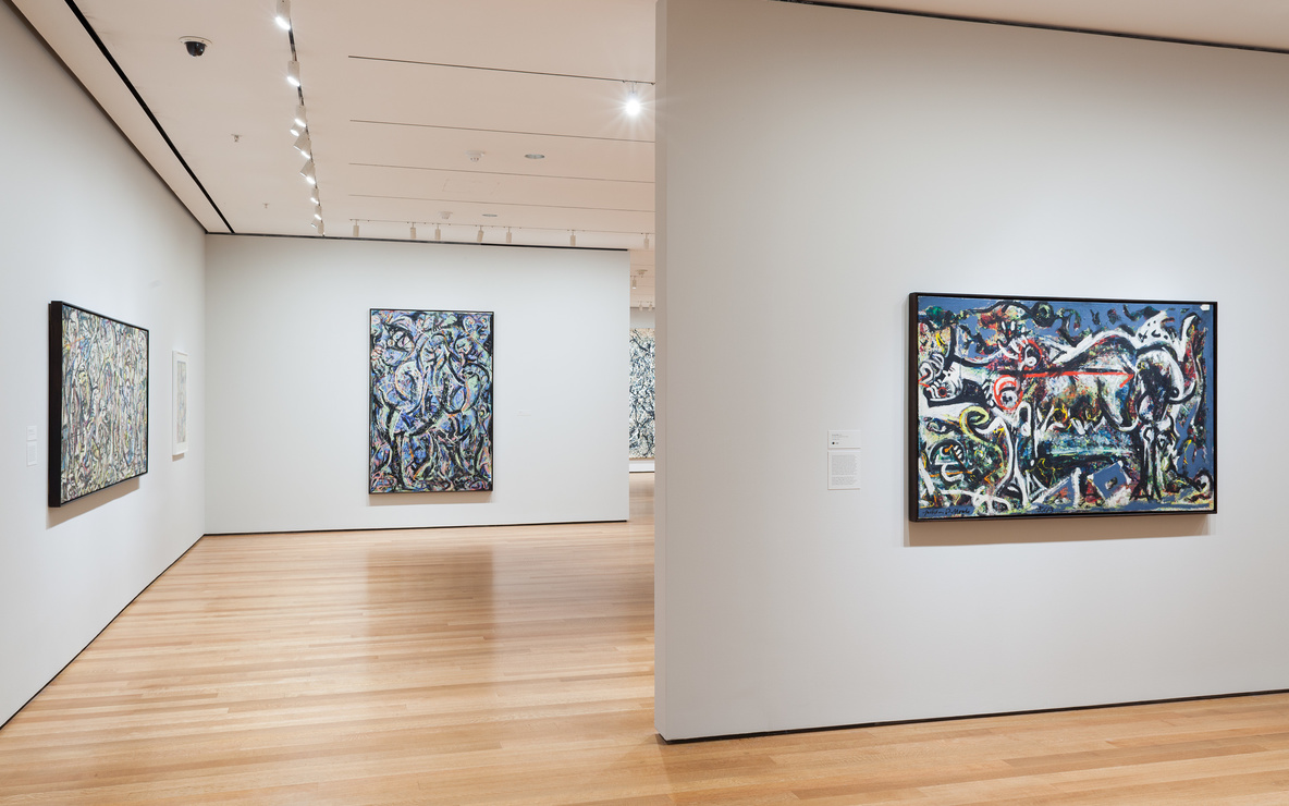 Installation view of *Jackson Pollock: A Collection Survey, 1934–1954*, The Museum of Modern Art, November 22, 2015–March 13, 2016. © 2015 The Museum of Modern Art, New York. Photo: Thomas Griesel