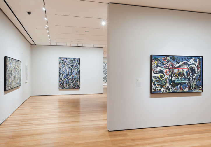 Installation view of Jackson Pollock: A Collection Survey, 1934–1954, The Museum of Modern Art, November 22, 2015–March 13, 2016. © 2015 The Museum of Modern Art, New York. Photo: Thomas Griesel