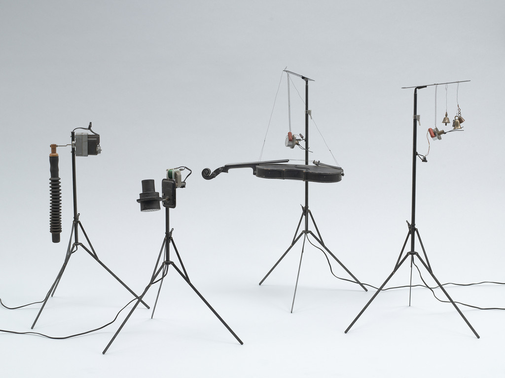 Joe Jones and George Maciunas. *Mechanical Flux Orchestra*. c. 1964–72. Painted metal, wood, rubber, found objects, electronic components. Publisher: Fluxus, [New York].  The Museum of Modern Art, New York. The Gilbert and Lila Silverman Fluxus Collection Gift, 2008