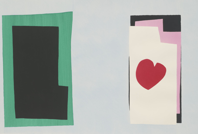 "Henri Matisse. The Heart (Le Coeur) from Jazz. 1947. One from a portfolio of 20 pochoirs, composition (irreg.): 14 13⁄16 × 24"" (37.7 × 61 cm); sheet: 16 9⁄16 × 25 11⁄16"" (42.1 × 65.3 cm). Gift of the artist. © 2016 Succession H. Matisse/Artists Rights Society (ARS), New York"