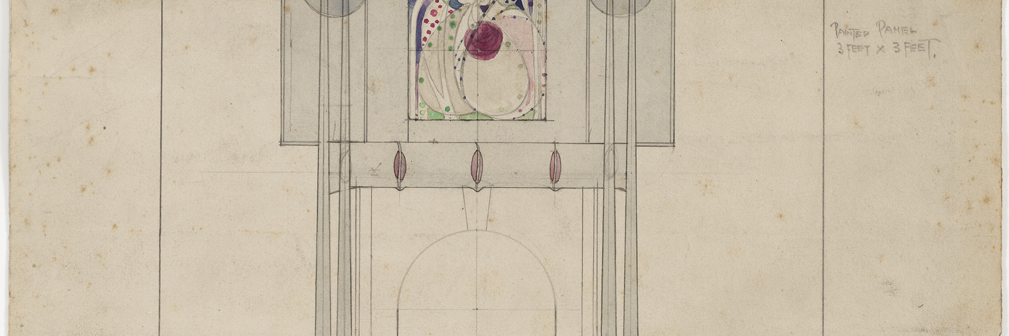 Charles Rennie Mackintosh (British, 1868–1928) and Margaret Macdonald (British, 1865–1933). Design for a Fireplace Wall, interior elevation of drawing room at 3 Lilybank Terrace, Glasgow. 1901. Pencil and watercolor on paper. 11 1/2 × 10 3/4″ (29.2 × 27.3 cm). The Museum of Modern Art, New York. Gift of Joseph H. Heil, by exchange, 2009