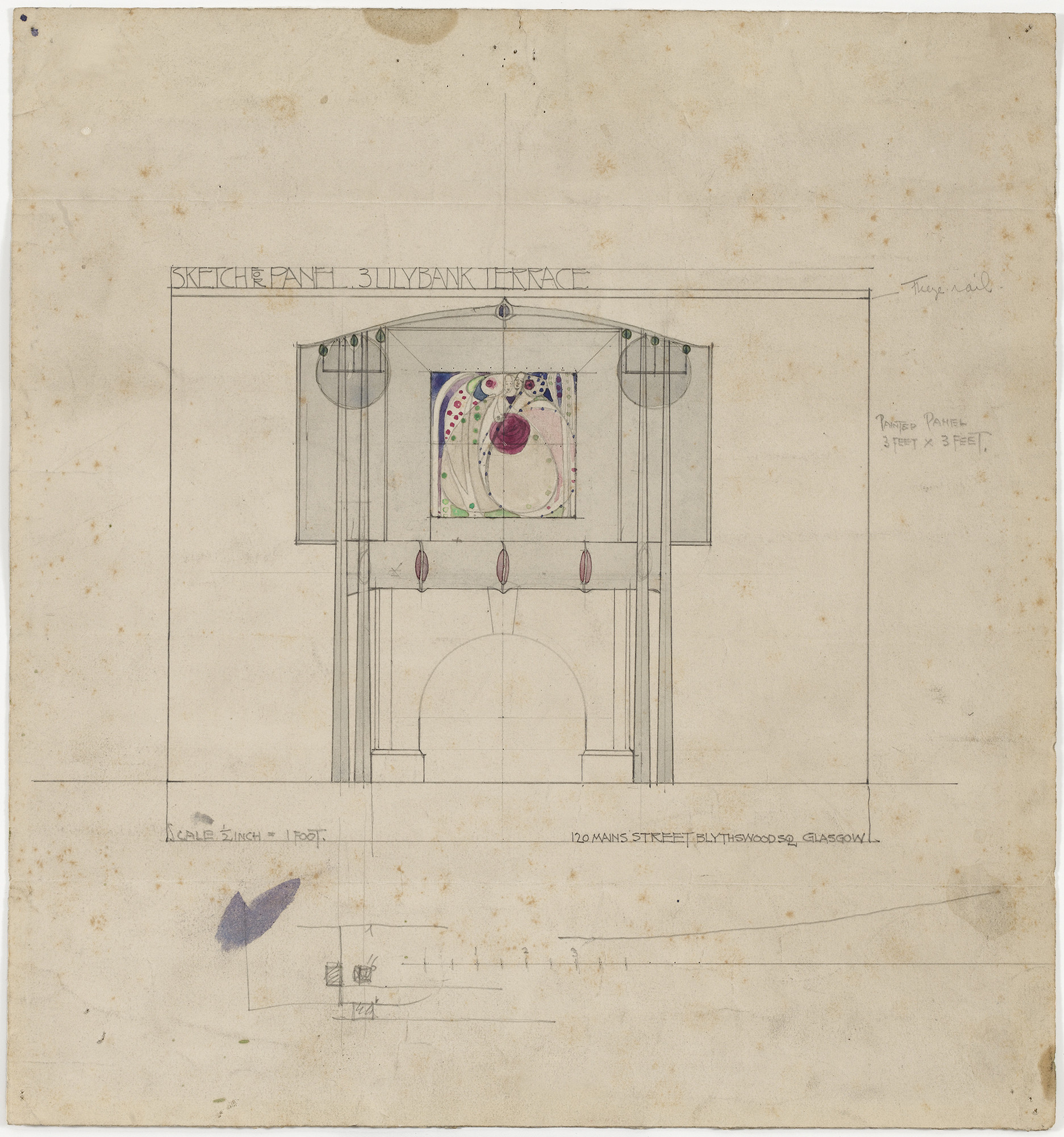 Charles Rennie Mackintosh (British, 1868–1928) and Margaret Macdonald (British, 1865–1933). Design for a Fireplace Wall, interior elevation of drawing room at 3 Lilybank Terrace, Glasgow. 1901. Pencil and watercolor on paper. 11 1⁄2 × 10 3/4″ (29.2 × 27.3 cm). The Museum of Modern Art, New York. Gift of Joseph H. Heil, by exchange, 2009