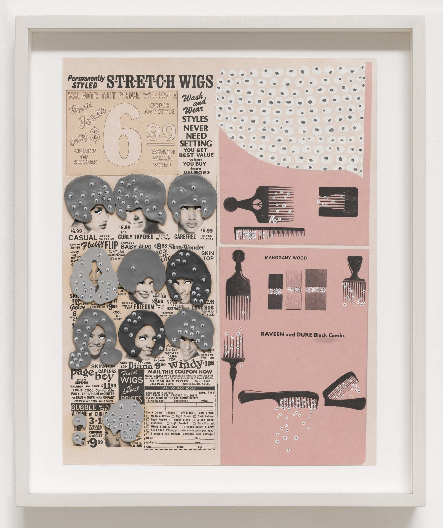 "Ellen Gallagher. Black Combs from DeLuxe (detail). 2004–05. Photogravure, chine collé, oil, laser cutting, plasticine, and toy eyeballs, from a portfolio of 60 mixed media works, composition and sheet: 13 x 10"" (33 x 25.4 cm). Publisher and printer: Two Palms Press, New York. Edition: 20. Acquired through the generosity of The Friends of Education of The Museum of Modern Art and The Speyer Family Foundation, Inc., with additional support from the General Print Fund. © 2012 Ellen Gallagher and Two Palms Press"