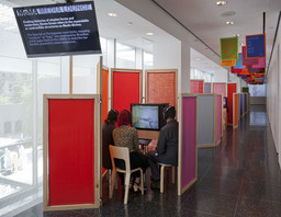 Installation view of the MoMA Media Lounge. Photo by Thomas Griesel