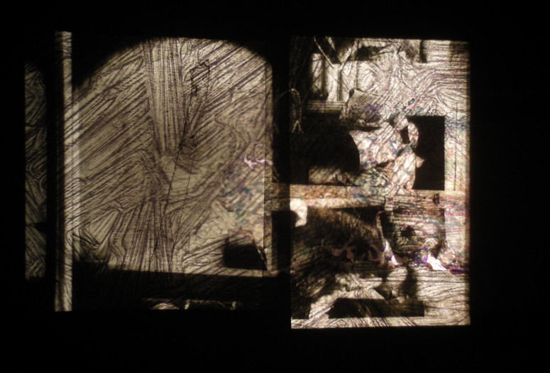 Raha Raissnia. Animism. 2013. 16mm film, 35mm slides, and painting overlaid. Courtesy the artist and Miguel Abreu Gallery, New York