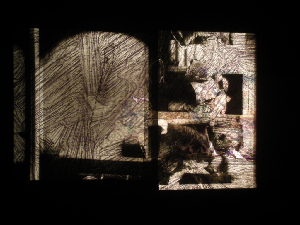 Raha Raissnia. *Animism*. 2013. 16mm film, 35mm slides, and painting overlaid. Courtesy the artist and Miguel Abreu Gallery, New York