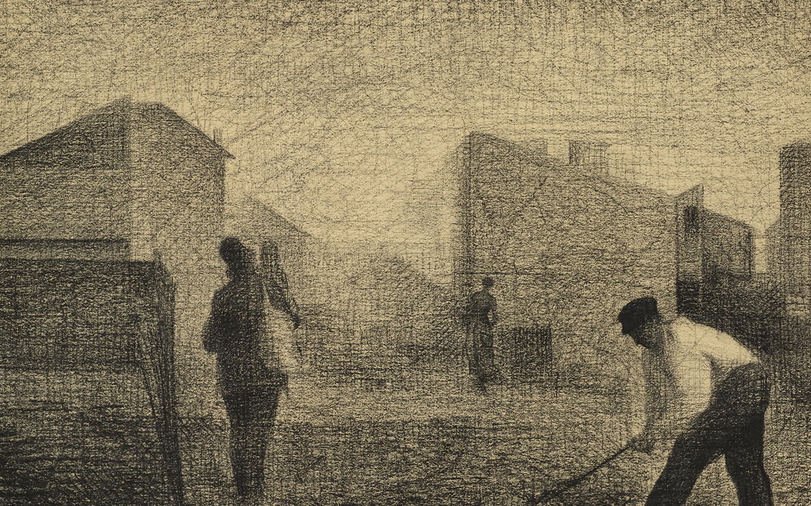 Georges-Pierre Seurat. *Stone Breaker, Le Raincy.* c. 1879–81. Conté crayon and graphite on paper, 12 1/8 × 14 3/4″ (30.8 × 37.5 cm). The Museum of Modern Art. Lillie P. Bliss Collection