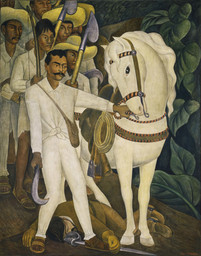 "Diego Rivera. *Agrarian Leader Zapata*. 1931. Fresco, 7' 9 3/4"" x 6' 2"" (238.1 x 188 cm). The Museum of Modern Art. Abby Aldrich Rockefeller Fund"