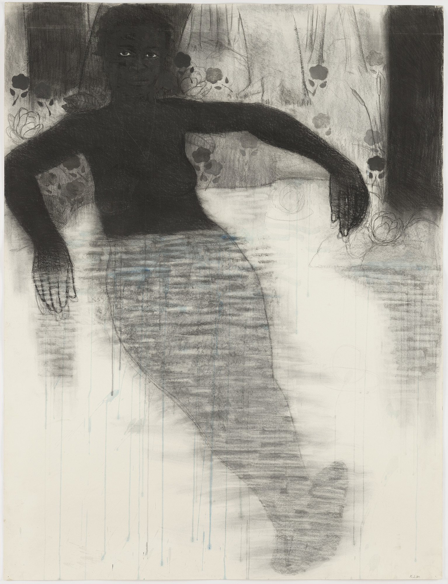 "Kerry James Marshall. Study for Blue Water, Silver Moon. 1991. Conté crayon and watercolor on paper, 49  3⁄4 x 38 1/8"" (126.4 x 96.8 cm). The Museum of Modern Art. Purchased with General Acquisitions Funds and funds provided by The Friends of Education of The Museum of Modern Art. © 2010 Kerry James Marshall"