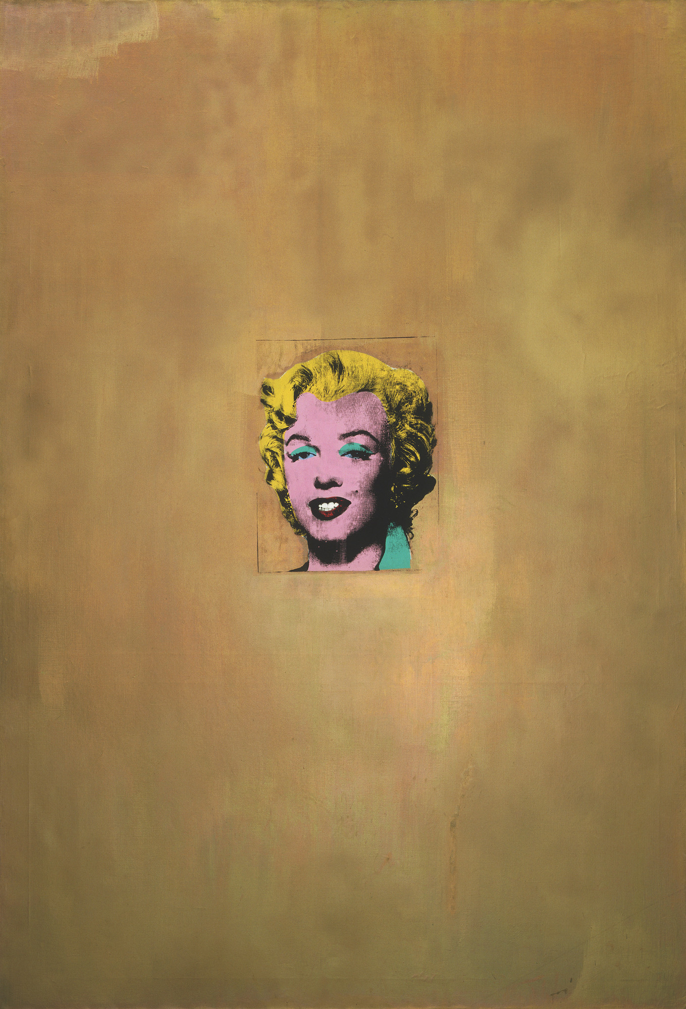 "Andy Warhol. Gold Marilyn Monroe. 1962. Silkscreen ink on synthetic polymer paint on canvas, 6' 11 1⁄4"" x 57"" (211.4 x 144.7 cm). Gift of Philip Johnson. © 2010 Andy Warhol Foundation for the Visual Arts / Artists Rights Society (ARS), New York"