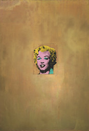 "Andy Warhol. *Gold Marilyn Monroe*. 1962. Silkscreen ink on synthetic polymer paint on canvas, 6' 11 1/4"" x 57"" (211.4 x 144.7 cm). Gift of Philip Johnson. © 2010 Andy Warhol Foundation for the Visual Arts / Artists Rights Society (ARS), New York"