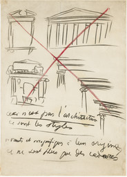 "Le Corbusier (Charles-Édouard Jeanneret ). ""Ceci n'est pas l'architecture"" drawing from Buenos Aires Lecture. 1929. Charcoal and crayon on paper, 39¾ × 25 9/16″ (101 × 65 cm). Gift of Agnes Gund in honor of Patricia Phelps de Cisneros"