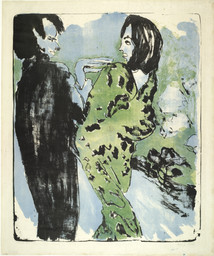 Emil Nolde. *Young Couple.* 1913. Lithograph, comp.: 24 1/2 × 19 13/16″ (62.2 × 50.3 cm).  Publisher: unpublished. Printer: Westphalen, Flensburg, Germany. Edition: 112 in 68 color variations. The Museum of Modern Art. Purchase. © Nolde Stiftung, Seebüll, Germany