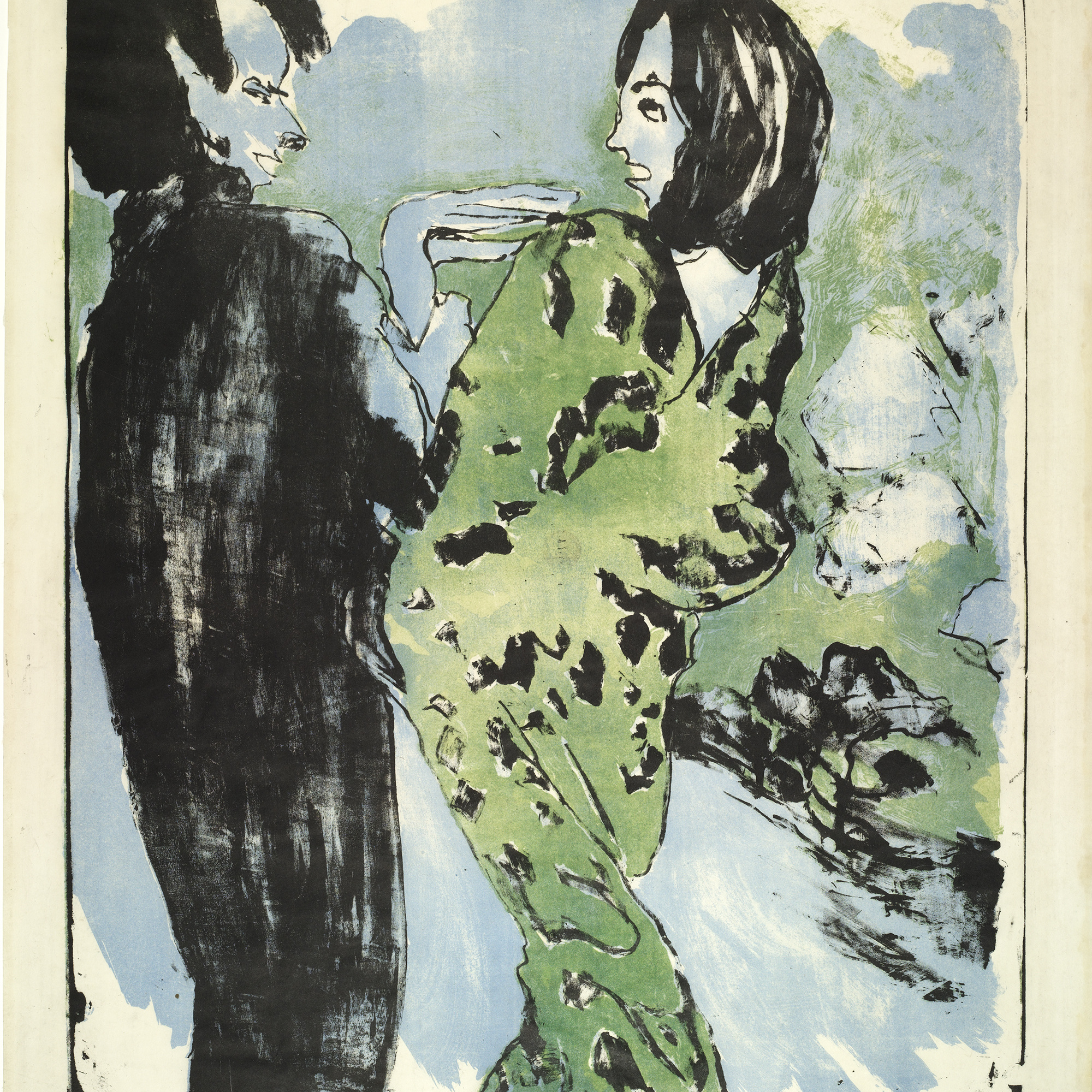 Emil Nolde. Young Couple. 1913. Lithograph, comp.: 24 1/2 × 19 13/16″ (62.2 × 50.3 cm). Publisher: unpublished. Printer: Westphalen, Flensburg, Germany. Edition: 112 in 68 color variations. The Museum of Modern Art. Purchase. © Nolde Stiftung, Seebüll, Germany