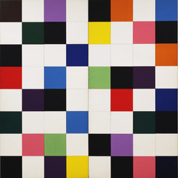 Ellsworth Kelly. *Colors for a Large Wall.* (1951). Oil on canvas. Sixty-four wood panels, overall: 7′ 10 1/2″ × 7′ 10 1/2″ (240 × 240 cm). The Museum of Modern Art, New York. Gift of the artist © 2008 Ellsworth Kelly