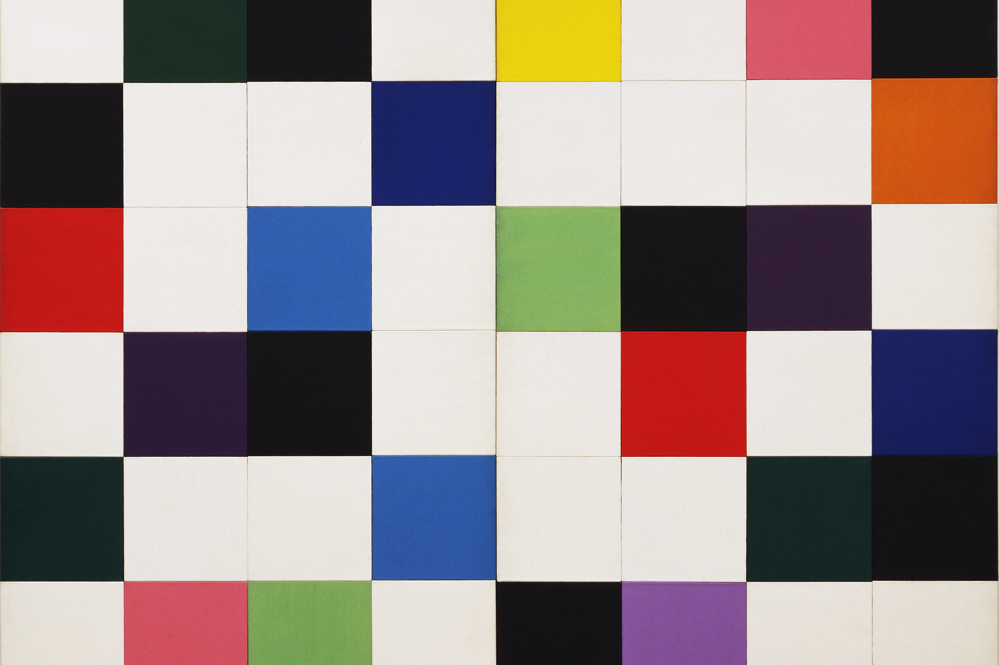 Ellsworth Kelly. Colors for a Large Wall. (1951). Oil on canvas. Sixty-four wood panels, overall: 7′ 10 1/2″ × 7′ 10 1/2″ (240 × 240 cm). The Museum of Modern Art, New York. Gift of the artist © 2008 Ellsworth Kelly