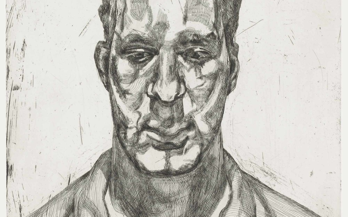 Lucian Freud. *Kai.* 1991–92. Sheet: 31 × 24 9/16″ (78.7 × 62.4 cm). Publisher: Matthew Marks Gallery, New York. Printer: Marc Balakjian at Studio Prints, London. Edition: 40. Courtesy Matthew Marks Gallery, New York. © 2008 Lucian Freud
