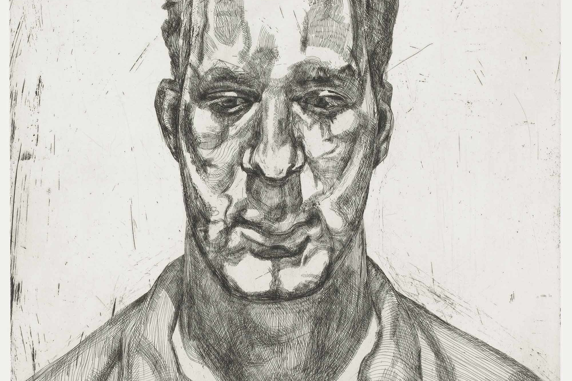 Lucian Freud. Kai. 1991–92. Sheet: 31 × 24 9/16″ (78.7 × 62.4 cm). Publisher: Matthew Marks Gallery, New York. Printer: Marc Balakjian at Studio Prints, London. Edition: 40. Courtesy Matthew Marks Gallery, New York. © 2008 Lucian Freud