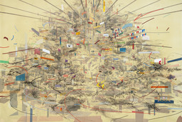 Julie Mehretu. Empirical Construction, Istanbul. 2003. Ink and synthetic polymer paint on canvas, 10′ × 15′ (304.8 × 457.2 cm). Fund for the Twenty-First Century. © 2010 Julie Mehretu