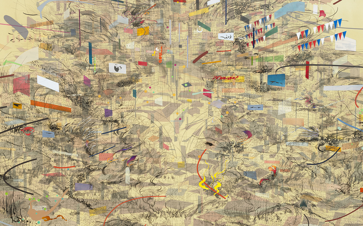 Julie Mehretu. *Empirical Construction, Istanbul.* 2003. Ink and synthetic polymer paint on canvas, 10′ × 15′ (304.8 × 457.2 cm). Fund for the Twenty-First Century. © 2010 Julie Mehretu