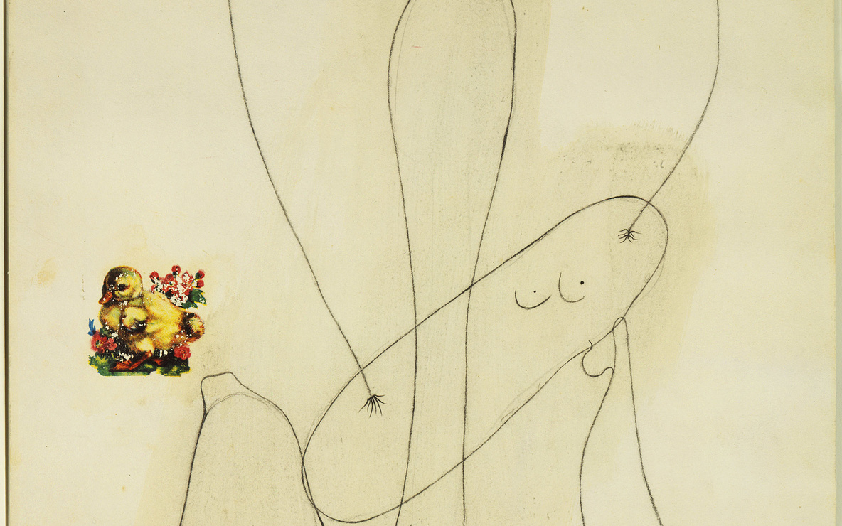 Joan Miró. *Drawing-Collage.* 1936. Crayon and decals on paper, 25 1/4 × 17 1/8″ (64 × 43.3 cm). The  Museum of Modern Art. Gift of Nelson A. Rockefeller. © 2006 Successió Miró/Artists Rights Society (ARS), New York/ADAGP, Paris