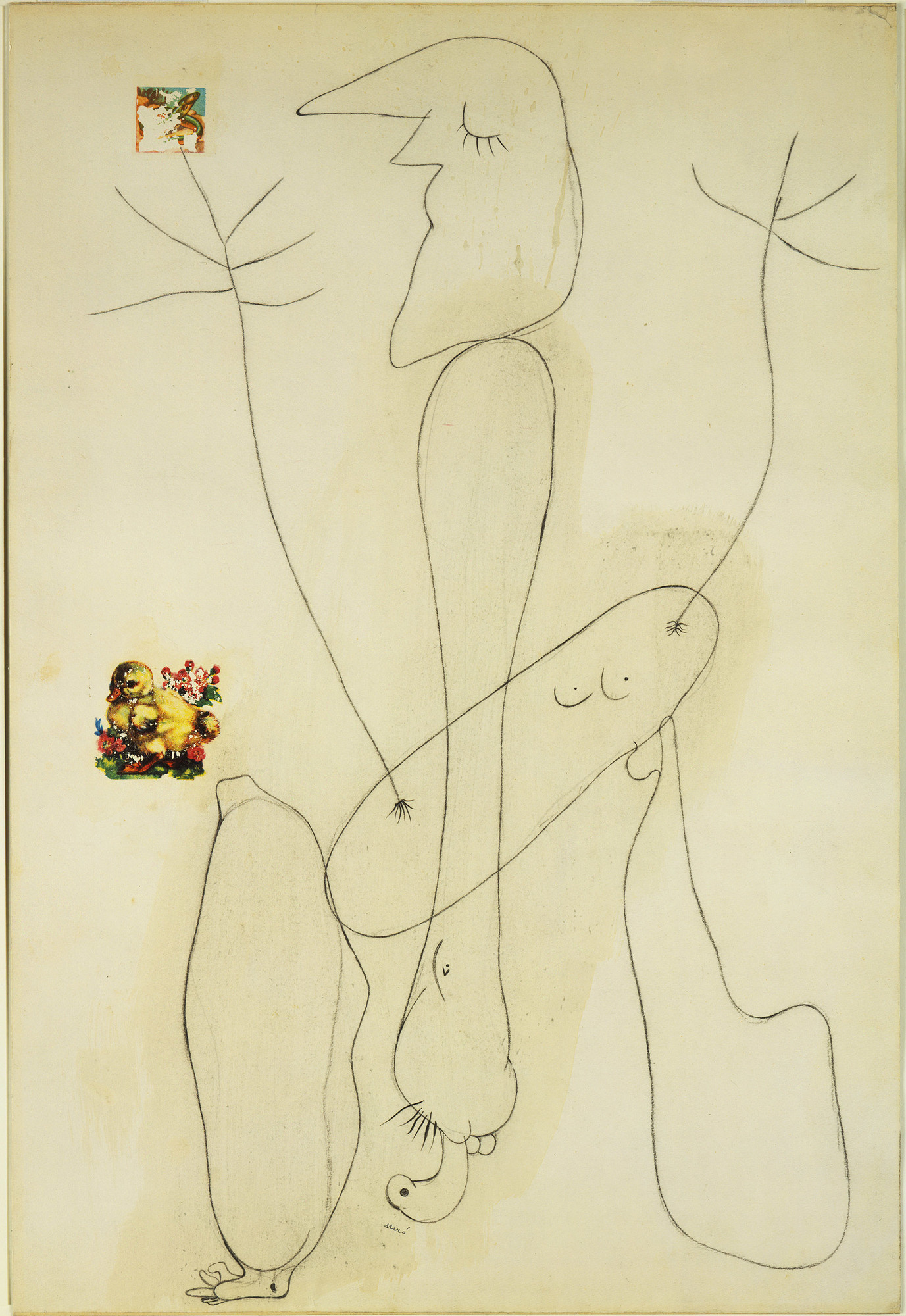 Joan Miró. Drawing-Collage. 1936. Crayon and decals on paper, 25 1⁄4 × 17 1/8″ (64 × 43.3 cm). The Museum of Modern Art. Gift of Nelson A. Rockefeller. © 2006 Successió Miró/Artists Rights Society (ARS), New York/ADAGP, Paris