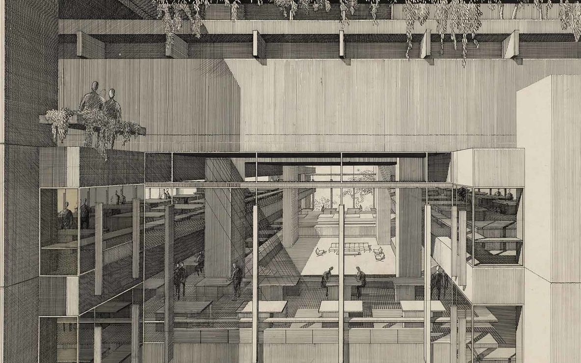 "Paul Rudolph. Art and Architecture Building, Yale University, New Haven, Connecticut (partial exterior perspective). 1958. Ink on board, 30 x 40"" (72.6 x 101.6 cm). The Museum of Modern Art. Gift of the architect"