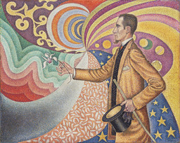 Paul Signac. *Opus 217. Against the Enamel of a Background Rhythmic with Beats and Angles, Tones, and Tints, Portrait of M. Félix Fénéon in 1890.* 1890. Oil on canvas, 29 × 36 1/2″ (73.5 × 92.5 cm). Fractional gift of Mr. and Mrs. David Rockefeller. © 2009 Artists Rights Society (ARS), New York/ADAGP, Paris