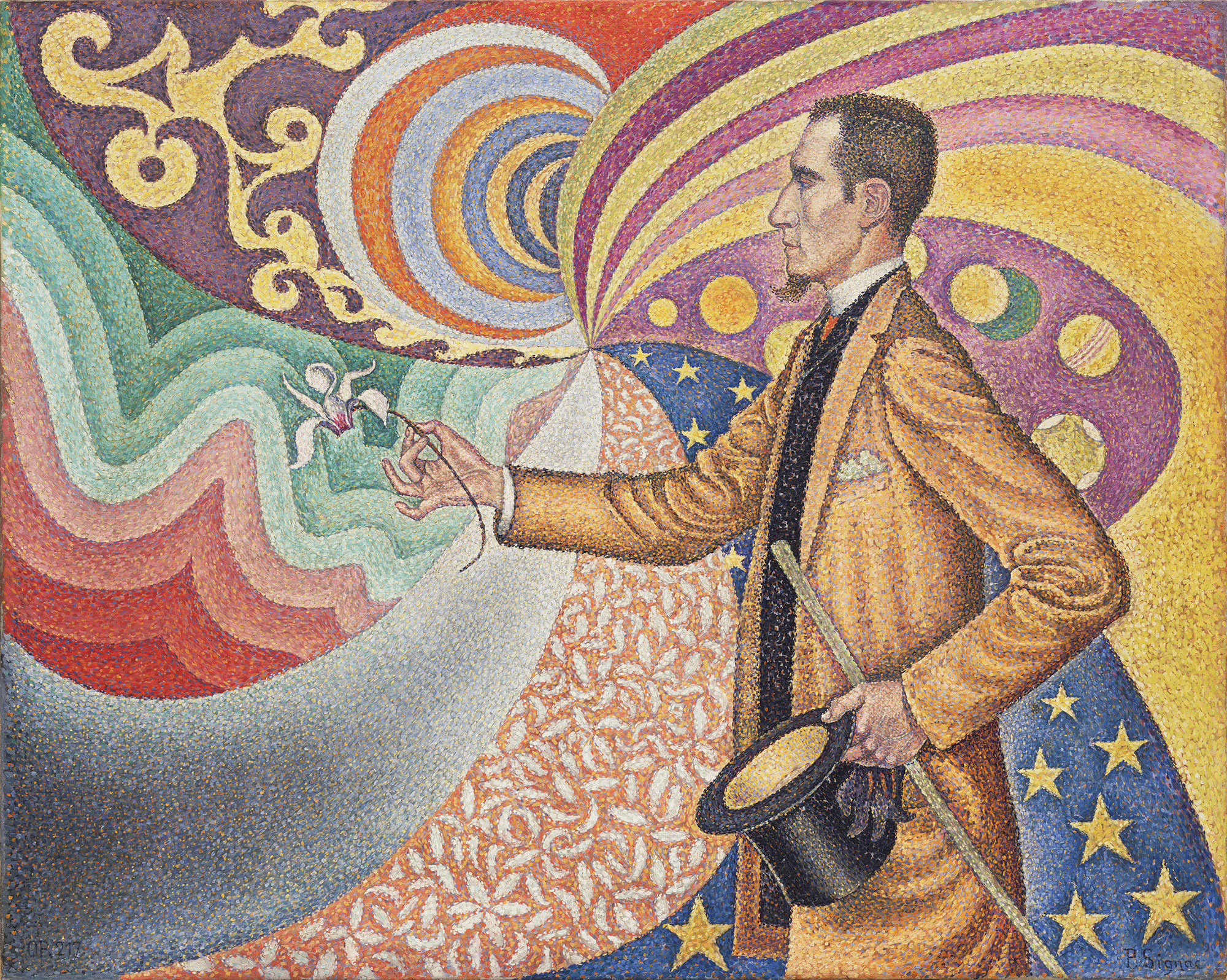 "Paul Signac. Opus 217. Against the Enamel of a Background Rhythmic with Beats and Angles, Tones, and Tints, Portrait of M. Félix Fénéon in 1890. 1890. Oil on canvas, 29 x 36 1/2"" (73.5 x 92.5 cm). Fractional gift of Mr. and Mrs. David Rockefeller. © 2009 Artists Rights Society (ARS), New York/ADAGP, Paris"