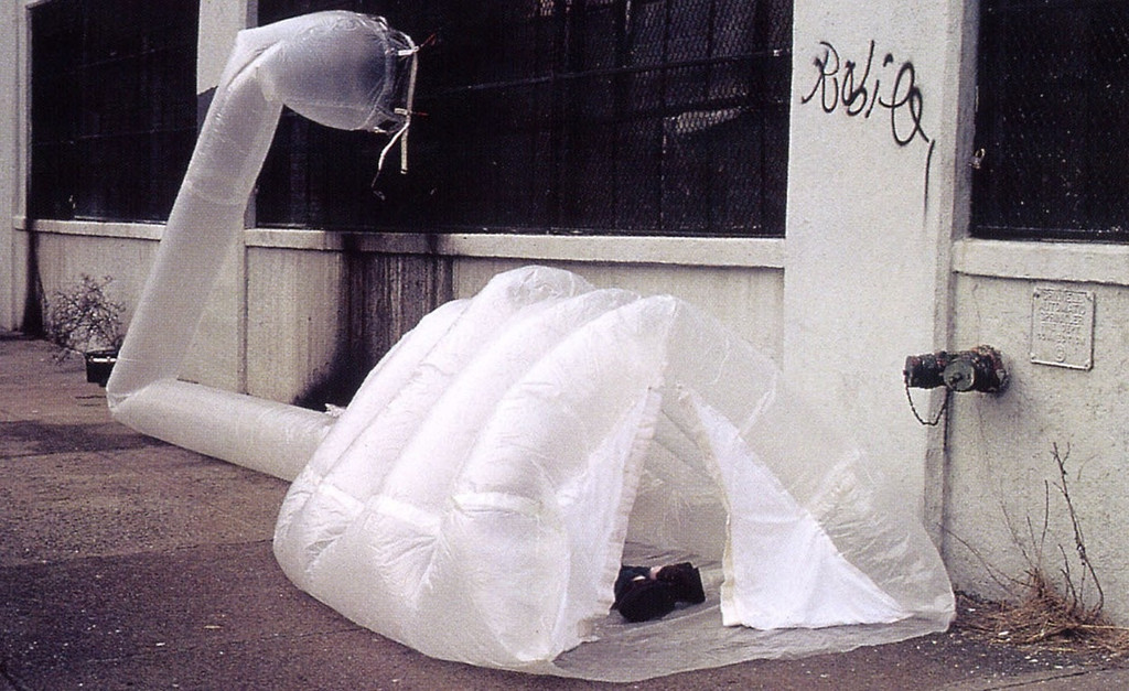 "Michael Rakowitz. paraSITE homeless shelter. 1997. Polyethylene, 42"" x 36"" x 11' (107 x 91.5 x 335 cm). The Museum of Modern Art, New York. Gift of Michael Rakowitz and Lombard-Freid Projects"