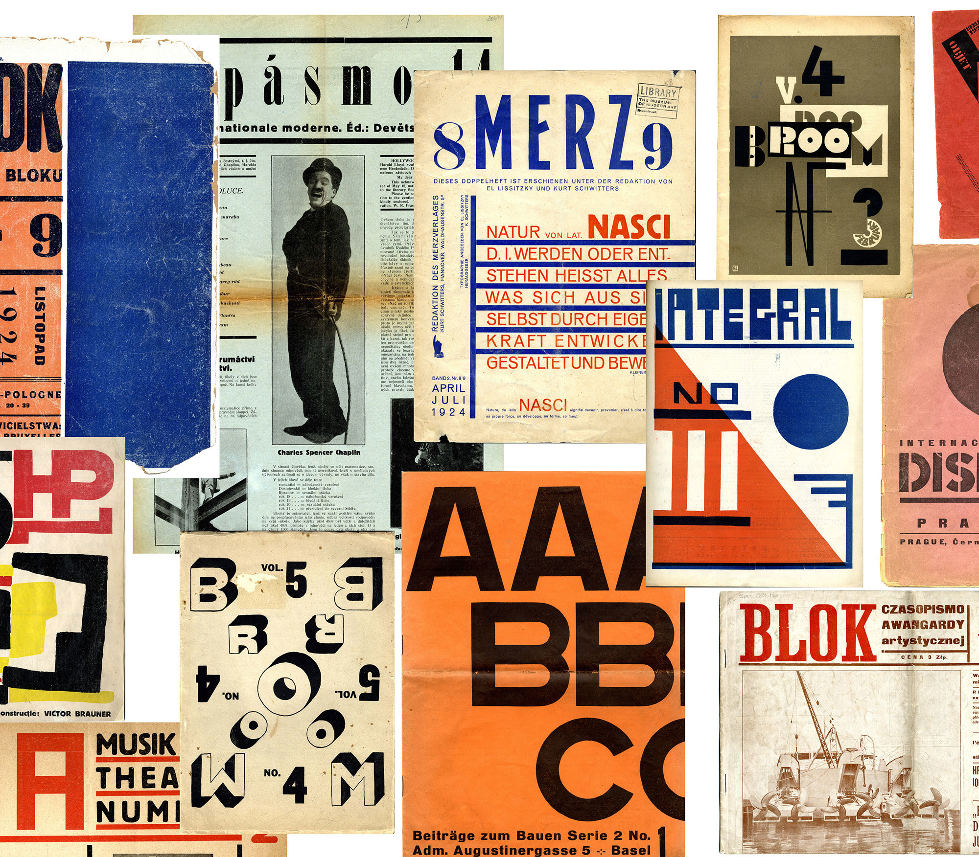 Clockwise, from top left: Blok (Warsaw, 1924); Pasmo (Brno, 1925); Merz (Hannover, 1924); Broom (Berlin, 1923); Veshch/Gegenstand/Objet (Berlin, 1922); Integral (Bucharest, 1925); Disk (Prague, 1923); Blok (Warsaw, 1924); ABC: Beiträge zum Bauen (Basel, 1926); Broom (Berlin, 1923); MA (Vienna, 1924); 75HP (Bucharest, 1924). The Museum of Modern Art Library