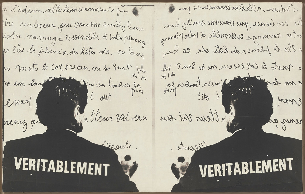 "Marcel Broodthaers (Belgian, 1924–1976). *Véritablement (Truly)*. 1968. Photographic canvas, 30 1/2 × 48 7/16"" (75.5 × 123 cm). The Museum of Modern Art, New York. Partial gift of the Daled Collection and partial purchase through the generosity of Maja Oeri and Hans Bodenmann, Sue and Edgar Wachenheim III, Marlene Hess and James D. Zirin, Agnes Gund, Marie-Josée and Henry R. Kravis, and Jerry I. Speyer and Katherine G. Farley, 2011. © 2016 Estate of Marcel Broodthaers/Artists Rights Society (ARS), New York/SABAM, Brussels"