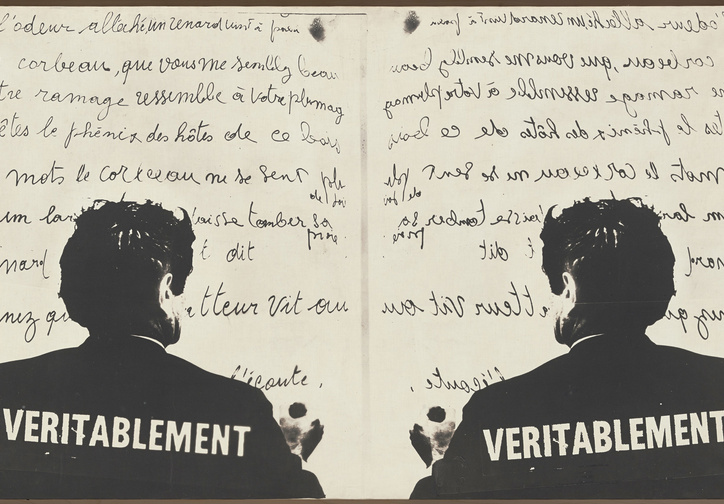 "Marcel Broodthaers (Belgian, 1924–1976). Véritablement (Truly). 1968. Photographic canvas, 30 1/2 × 48 7/16"" (75.5 × 123 cm). The Museum of Modern Art, New York. Partial gift of the Daled Collection and partial purchase through the generosity of Maja Oeri and Hans Bodenmann, Sue and Edgar Wachenheim III, Marlene Hess and James D. Zirin, Agnes Gund, Marie-Josée and Henry R. Kravis, and Jerry I. Speyer and Katherine G. Farley, 2011. © 2016 Estate of Marcel Broodthaers/Artists Rights Society (ARS), New York/SABAM, Brussels"
