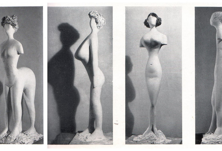 Plaster figures designed by Bernard Rudofsky and modeled by Constantin Nivola, showing a woman's body as it would have appeared had it fitted into the clothes of four fashion periods. In the exhibition <em>Are Clothes Modern?</em> The Museum of Modern Art, November 28, 1944–March 4, 1945. New York. The Museum of Modern Art Archives, Photographic Archive. Photo: Soichi Sunami