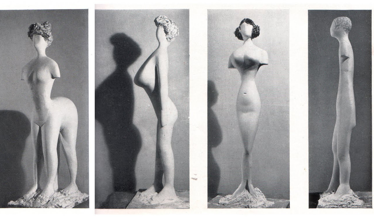 Plaster figures designed by Bernard Rudofsky and modeled by Constantin Nivola, showing a woman's body as it would have appeared had it fitted into the clothes of four fashion periods. In the exhibition Are Clothes Modern? The Museum of Modern Art, November 28, 1944–March 4, 1945. New York. The Museum of Modern Art Archives, Photographic Archive. Photo: Soichi Sunami