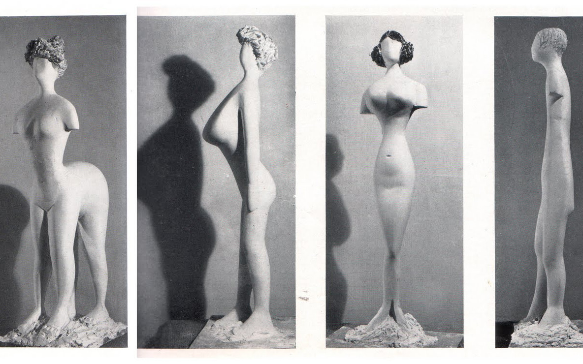 Plaster figures designed by Bernard Rudofsky and modeled by Constantin Nivola, showing a woman's body as it would have appeared had it fitted into the clothes of four fashion periods. In the exhibition *Are Clothes Modern?* The Museum of Modern Art, November 28, 1944–March 4, 1945. New York. The Museum of Modern Art Archives, Photographic Archive. Photo: Soichi Sunami