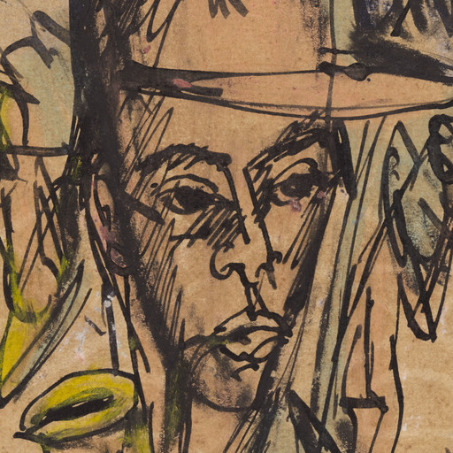 "Ernst Ludwig Kirchner. Self-Portrait with Pipe (Selbstbildnis mit Pfeife). (July 23, 1914). Ink, crayon, watercolor and gouache on paper, 5 1/2 x 3 5/8"" (14 x 9.2 cm). Gift of Jo Carole and Ronald S. Lauder"