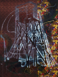 Sigmar Polke. *Watchtower (Hochsitz).* 1984. Synthetic polymer paints and dry pigment on fabric, 9′ 10″ × 7′ 4½″ (300 × 224.8 cm). The Museum of Modern Art, New York. Fractional and promised gift of Jo Carole and Ronald S. Lauder. © 2013 Estate of Sigmar Polke/Artists Rights Society (ARS), New York/VG Bild-Kunst, Bonn