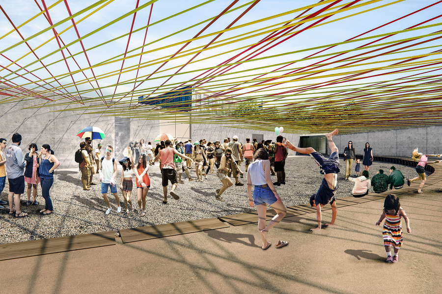 Escobedo Soliz Studio. Weaving the Courtyard (rendering). 2016. Young Architects Program, MoMA PS1, 2016 winner