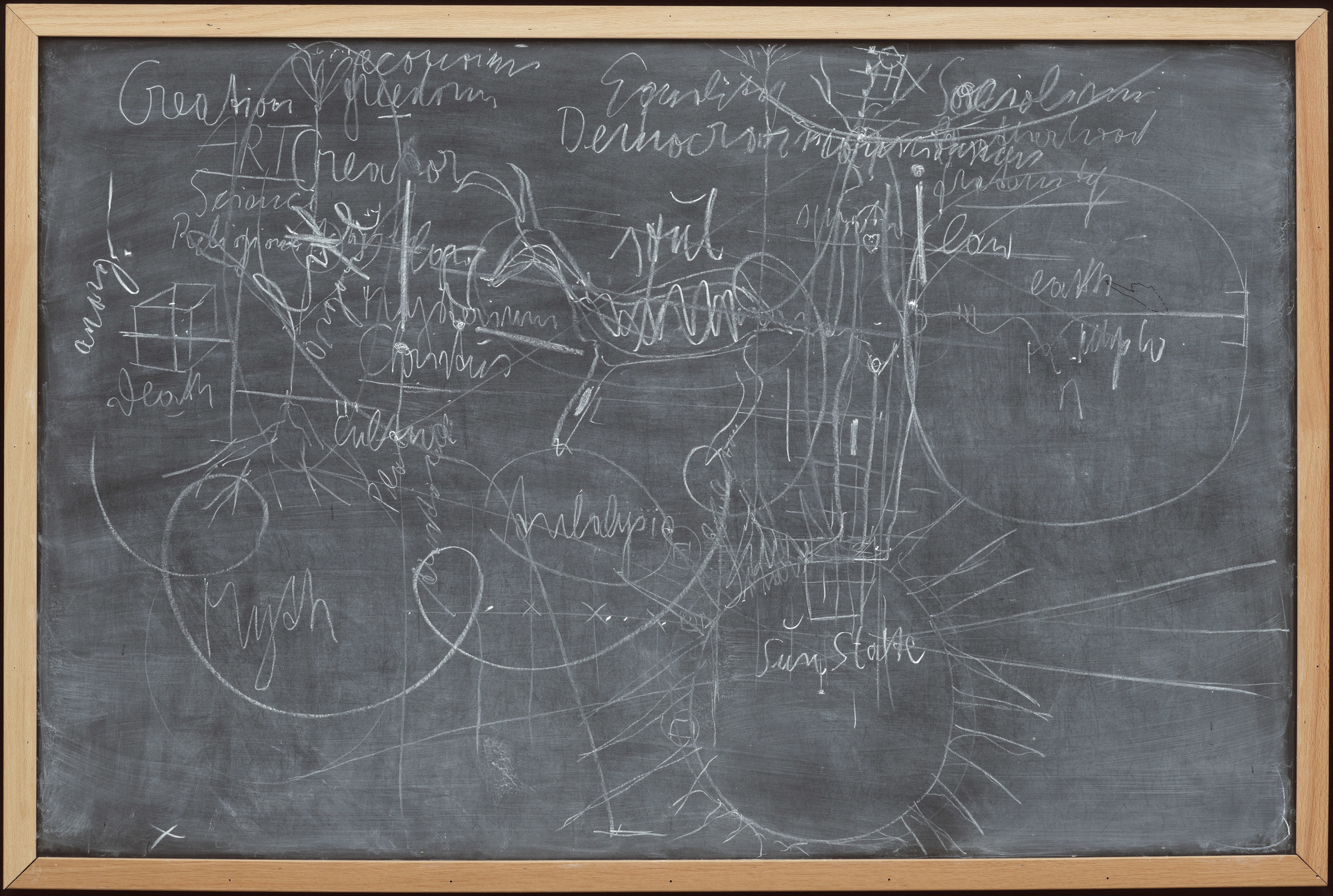 Joseph Beuys. Untitled (Sun State). 1974. Chalk on painted board with wood frame, 47 1⁄2 × 7 11/8″ (120.7 × 180.7 cm). The Museum of Modern Art. Gift of Abby Aldrich Rockefeller (by exchange) and acquired through the Lillie P. Bliss Bequest (by exchange). © 2007 Artists Rights Society (ARS), New York/VG Bild-Kunst, Bonn
