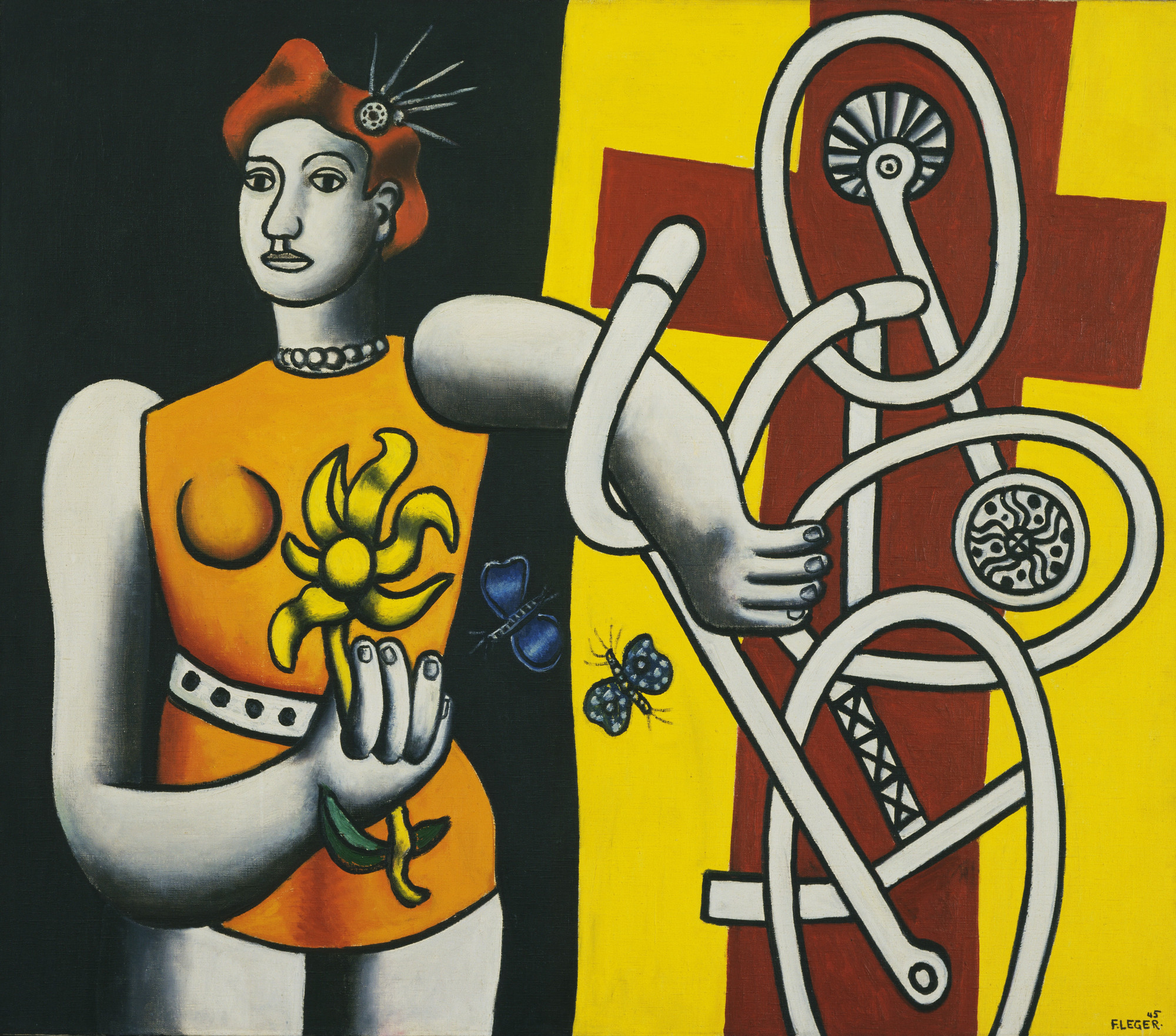 Fernand Léger. La Grande Julie (Big Julie). 1945. Oil on canvas. 44 × 50 1/8″ (111.8 × 127.3 cm). The Museum of Modern Art, New York. Acquired through the Lillie P. Bliss Bequest, 1945. Photograph © 1998 The Museum of Modern Art, New York. © Estate of Fernand Léger/Artists Rights Society (ARS), N.Y.