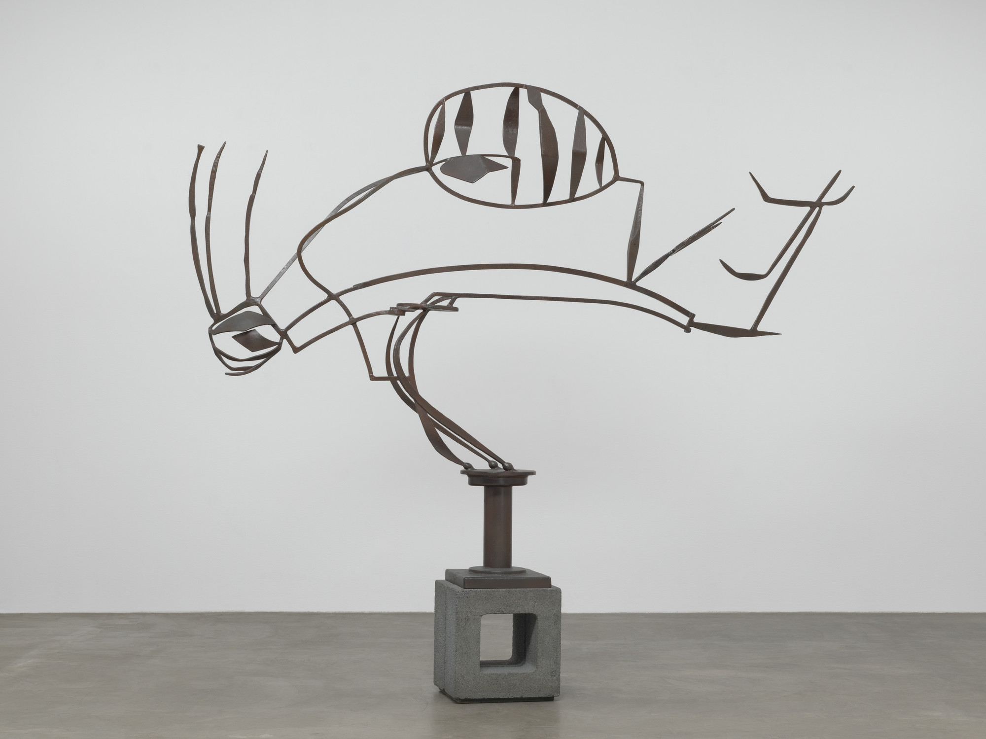 "David Smith. Australia. 1951. Painted steel on cinder block base, overall 6′ 7 1/2″ × 8′ 11 7/8″ × 16 1/8"" (202 × 274 × 41 cm); base 17 1/2 x 16 3/4 x 15 1/4"" (44.5 x 42.5 x 38.7 cm). The Museum of Modern Art. Gift of William Rubin"
