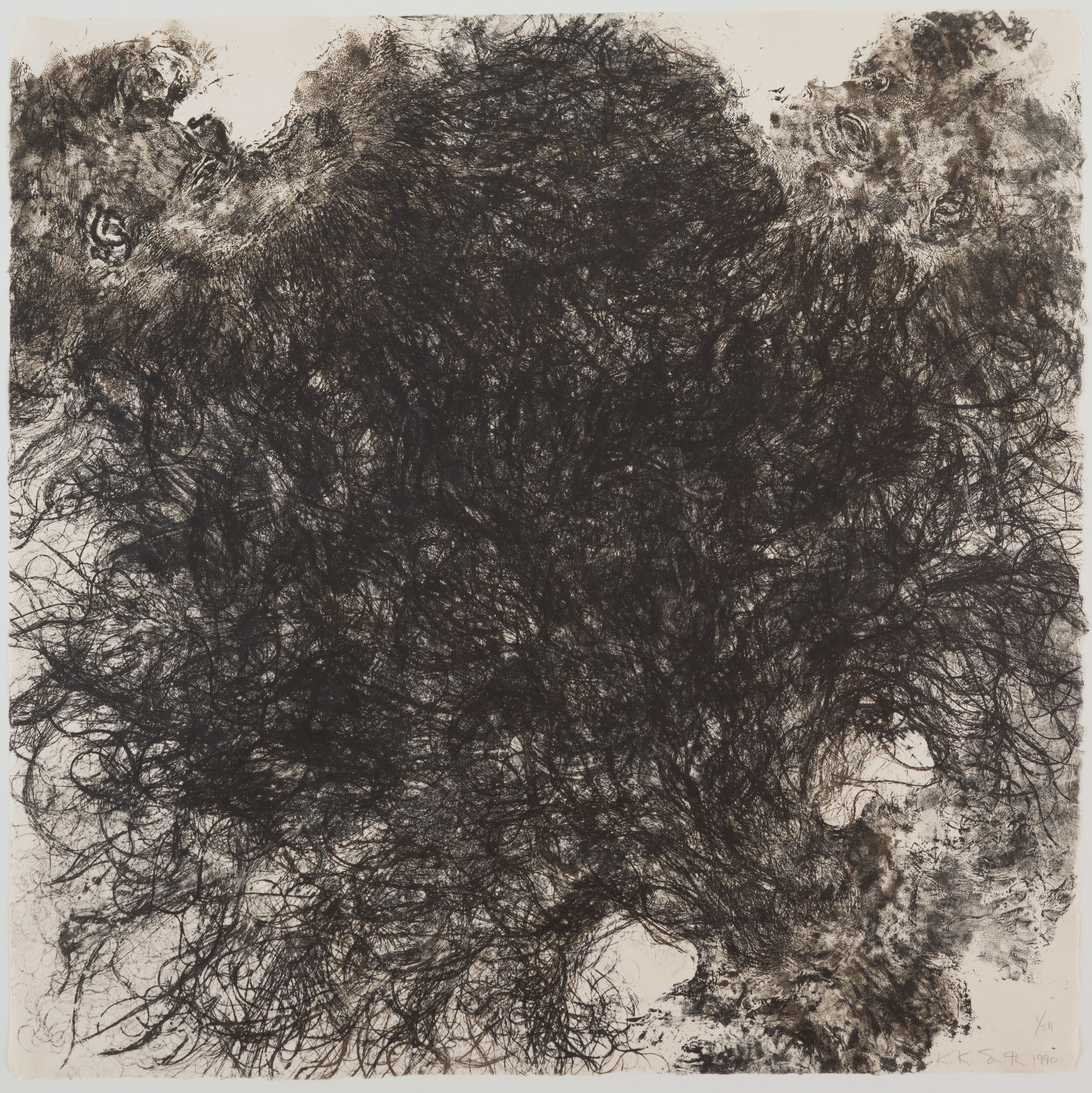 Kiki Smith. Untitled. 1990. Lithograph on handmade Japanese paper, sheet: 35 3⁄4 × 36″ (90.8 × 91.5 cm). Publisher and printer: Universal Limited Art Editions, West Islip, New York. Edition: 54. The Museum of Modern Art. Gift of Emily Fisher Landau